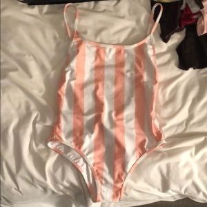 Never worn wildfox pink striped one piece swimsuit